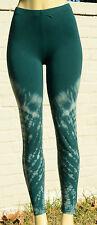 New HAPPY TIE DYE LEGGINGS Bleach Swirl Legs Forest Green Large AMERICAN APPAREL