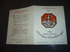 MENU 1970  RESTAURANTCHEZ RAMPONNEAU 21 AV. MARCEAU  PARIS