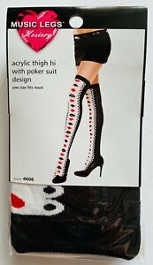 Poker Thigh Hi Black/White/Red One Size New in Original Packaging