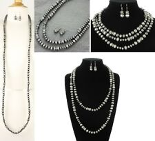 """Extra Long 60"""" Western Silver Navajo Style Faux Pearl Necklace Earring Set"""