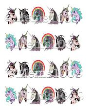Unicorn Zombie Nail art water decals. Unicorns nail Decals
