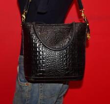 Vintage BRAHMIN Black Croco Embossed Leather Satchel Convertible Purse Tote Bag