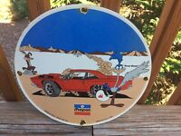 VINTAGE MOPAR PORCELAIN SIGN SERVICE STATION GAS OIL DODGE PLYMOUTH ROAD RUNNER
