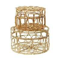 Round Wicker Box With Ring Patterns Set Of 2 - Decorative Round Box In Washed