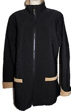 SUSAN GRAVER Black Camel Quilted Full Zip Up Outdoor Fall Coat Jacket M