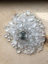 32 CLEAR WHITE SMALL TINY PIECES   JEWELRY TUMBLED MOSAIC BEACH SEA GLASS