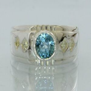 Natural Blue Zircon Yellow Diamond Handmade Sterling Silver Gents Ring size 8.5
