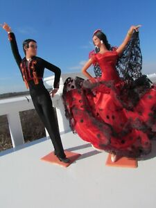 "VTG pair Flamenco dolls Marin Chiclana 10"" black red hard plastic Spanish Spain"