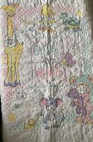 Vintage GIRAFFE BEAR TURTLE Handmade Cross Stitched Baby Crib Quilt Blanket