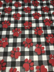 NEW TOILET LID TANK LID COVER SET BLACK RED WHITE HEART PAW PRINT