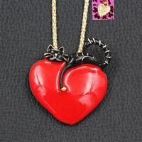 Betsey Johnson Red Enamel Big Love Heart Cat Kitten Pendant Necklace/Brooch Pin