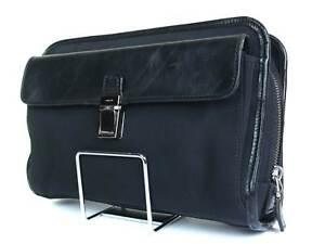 GUCCI Nylon Canvas Leather Black Clutch Bag GP16235L