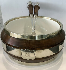 Large Coopered English Oak Salad Bowl & Silver Plated Servers With China Insert