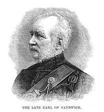 John Montagu il conte di Sandwich-stampa antica 1884