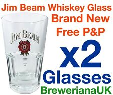 Set Of 2 Jim Beam 32cl Whiskey Glasses Brand New Genuine 2&4cl Measure Lines