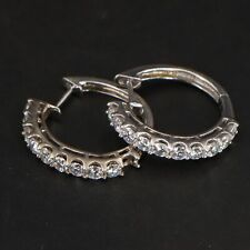 Sterling Silver - CZ Cubic Zirconia Cluster Huggie Hoop Earrings - 7g