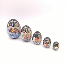 Russian Christmas Nesting Eggs 5 Piece Wooden Hand Painted 5""