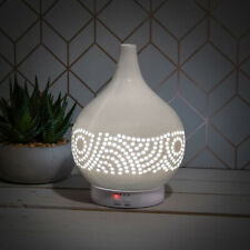 White Ceramic Humidifier- Fragrance Mist -Colour Changing LED Lamp with Remote