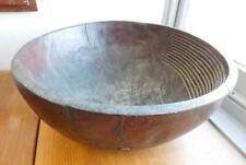 MASSIVE Ethnographic Vintage Carved Deep Round Wood Bowl African Pacific Island