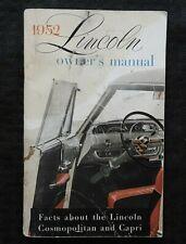 ORIGINAL 1952 Lincoln Cosmopolitan Capri Owners Manual VERY GOOD SHAPE 60+ pages