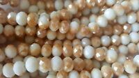 Joblot of 10 strings (720 beads) 8mm White 2 tone Crystal beads new wholesale