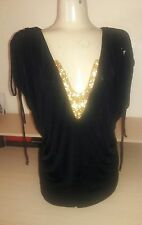 NWT Baby Phat Womens Plus Size 3X Gold sequins Black stretch ruched top clubbing