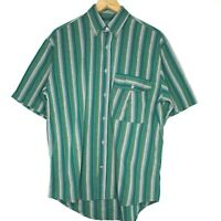 Acis Green Striped Mens Button Up S/S Shirt Size Large Made In Italy