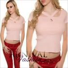 SEXY CASUAL CROP TOPS XS S M L WOMENS SHORT SLEEVE T SHIRT BLOUSE strappy summer