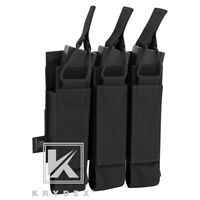 KRYDEX Triple Open Top Submachine Mag Pouch Tactical Magazine Carrier Black