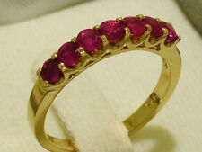 R183 Genuine 9K or 18K Gold Natural Ruby 7-Stone Half Eternity Ring in your size