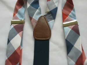 Gillmon's Men's Cloth Suspenders Red, Navy & White Plaid