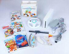 Nintendo Wii White Console w/Controllers Nunchuk 5 Games Mario Kart w/Wheel +