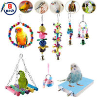 8Pcs Parrot Toys Chewing Hanging Swing Rack Budgie Cockatiel Bird Cage Toys Sets