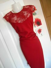 **STUNNING** LIPSY LONDON SIZE 12 RED MESH SEQUIN WIGGLE DRESS **FAST POSTAGE*