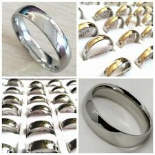 Wholesale Silver 100pcs 4mm & 6mm Band Men Women Stainless Steel Wedding Rings