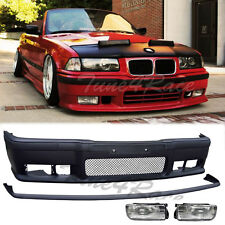 92-98 BMW E36 3-Series M3 Style front bumper lip & clear fog light 2/4 Drs