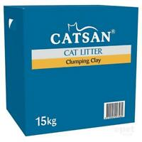 NEW Catsan Natural Odour Control Moist Absorbent Clumping Clay Cat Litter 15kg