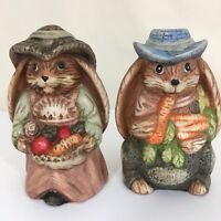Country Rabbit Floppy Ears Ceramic Figurine Lot of 2