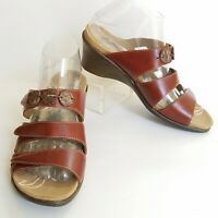 ROMIKA Maui Womens Brown Leather Strappy Comfort Wedge Sandals 39 / 8.5