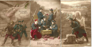 WW1,3 Propaganda postcards.The 3 write on back.Lot 1.