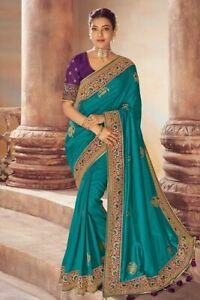 Indian Embroidery Silk Saree Ethnic Wedding Party Wear With Tessel Lace Sari