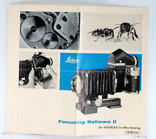 Original Leica Sales Brochure for Focusing Bellows II, 4 pages - Aug. 1962