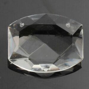 Large Czech vintage crystal clear oval rhinestone pendant glass bead 33x26mm