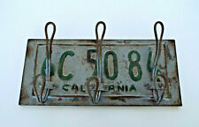 "California License Plate Coat Rack Metal 3 Hooks Rustic Distressed 12"" x 6"""