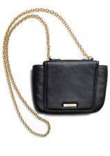 VERSACE Parfums Black CROSSBODY BAG Gold tone Chain Shoulder Pouch Purse Case.