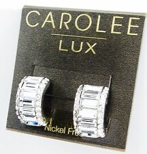 $65 Carolee Lux 14K Gold Fill Post COTTON CANDY Half Hoop Baguette Earrings