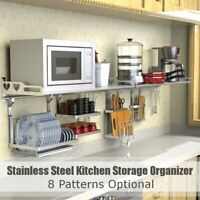 Stainless Steel Kitchen Organizer Wall Hanging Dish Rack Storage Drying