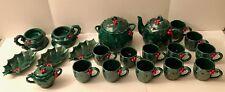 Vintage LEFTON  GREEN HOLLY 20 Piece Christmas Winter Ceramic Tea Coffee Set