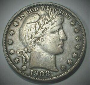 1908-D USA Barber Silver Half Dollar VF Condition  (815)