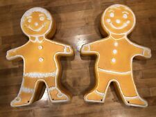 Christmas Blow Mold Gingerbread Figures Boy And Girl Two Sided Pair Set Of 2